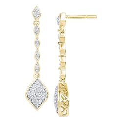 1/4 CTW Round Diamond Cluster Dangle Drop Earrings 10kt Yellow Gold - REF-24Y3X