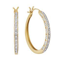 1/6 CTW Round Diamond Hoop Earrings 10kt Yellow Gold - REF-21N5Y