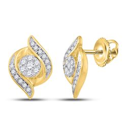 1/4 CTW Round Diamond Flower Cluster Earrings 14kt Yellow Gold - REF-30M3A