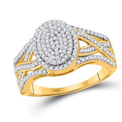 1/2 CTW Round Diamond Oval Cluster Twist Ring 10kt Yellow Gold - REF-39A3N