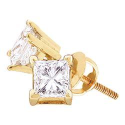 1/4 CTW Unisex Princess Diamond Solitaire Stud Earrings 14kt Yellow Gold - REF-22H8W