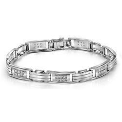 1 CTW Mens Round Diamond Rectangle Link Fashion Bracelet 10kt White Gold - REF-123M3A