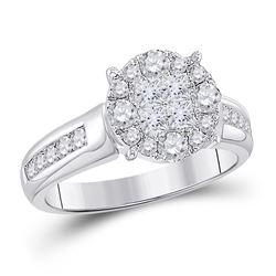1 CTW Princess Diamond Cluster Bridal Wedding Engagement Ring 14kt White Gold - REF-95K9R
