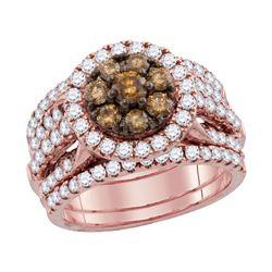 1 CTW Round Brown Diamond 3-Piece Bridal Wedding Engagement Ring 14kt Rose Gold - REF-107W9F