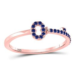 1/5 CTW Round Blue Sapphire Key Stackable Ring 10kt Rose Gold - REF-10R8H