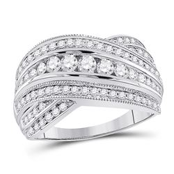 1 CTW Round Diamond Fashion Crossover Ring 14kt White Gold - REF-99N3Y