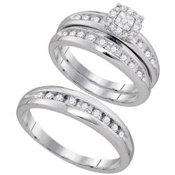 1/2 CTW His & Hers Round Diamond Cluster Matching Bridal Wedding Ring 10kt White Gold - REF-39F6M