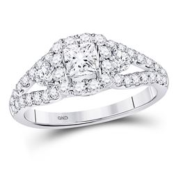 1 & 1/4 CTW Princess Diamond Halo Bridal Wedding Engagement Ring 14kt White Gold - REF-132H3W