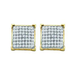 1/10 CTW Round Pave-set Diamond Square Cluster Earrings 10kt Yellow Gold - REF-8T4K