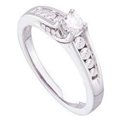 1/2 CTW Round Diamond Solitaire Bridal Wedding Engagement Ring 14kt White Gold - REF-63Y5X