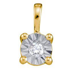 1/10 CTW Round Diamond Illusion-set Solitaire Pendant 10kt Yellow Gold - REF-10F8M