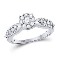 5/8 CTW Round Diamond Cluster Bridal Wedding Engagement Ring 10kt White Gold - REF-39K3R