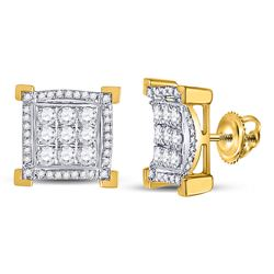 1 CTW Mens Round Diamond Squared Cluster Earrings 14kt Yellow Gold - REF-71K9R