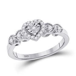 1/5 CTW Round Diamond Heart Ring 10kt White Gold - REF-20T3K