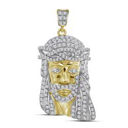 3/4 CTW Mens Round Diamond Jesus Face Charm Pendant 10kt Yellow Gold - REF-41T9K