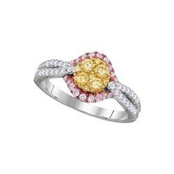 3/4 CTW Round Yellow Diamond Cluster Bridal Wedding Engagement Ring 14kt White Gold - REF-77H9W