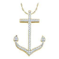1/6 CTW Round Diamond Anchor Nautical Pendant 10kt Yellow Gold - REF-14W4F