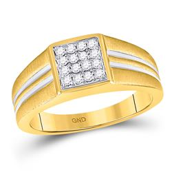 1/4 CTW Mens Round Diamond Square Cluster Ring 10kt Two-tone Gold - REF-27Y3X