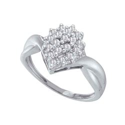 1/4 CTW Round Diamond Oval Cluster Ring 10kt White Gold - REF-16R8H