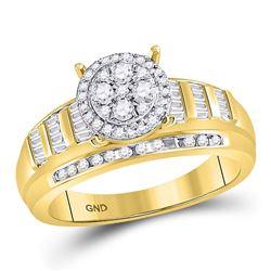 1/2 CTW Round Diamond Cluster Bridal Wedding Engagement Ring 10kt Yellow Gold - REF-30R3H