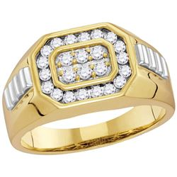 5/8 CTW Mens Round Diamond Octagon Ribbed Cluster Ring 10kt Two-tone Gold - REF-41W9F