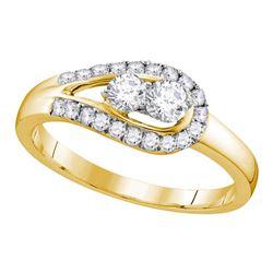 1/2 CTW Round Diamond 2-stone Bridal Wedding Engagement Ring 10kt Yellow Gold - REF-35A9N