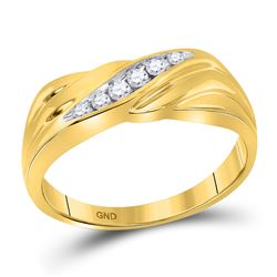 1/8 CTW Mens Round Diamond Single Row Wedding Ring 10kt Yellow Gold - REF-24T3K
