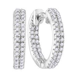 1/5 CTW Round Diamond Hoop Earrings 10kt White Gold - REF-13A2N