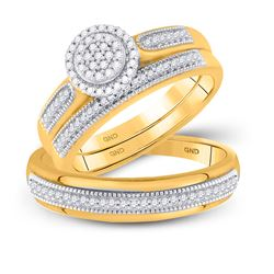 1/4 CTW His & Hers Round Diamond Cluster Matching Bridal Wedding Ring 10kt Yellow Gold - REF-39H6W