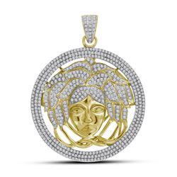 2 & 1/5 CTW Mens Round Diamond Medusa Gorgon Charm Pendant 10kt Yellow Gold - REF-101H9W