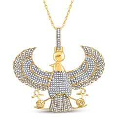 1 & 3/4 CTW Mens Round Diamond Eagle Falcon Egyptian Horus Ankh Charm Pendant 10kt Yellow Gold - REF