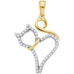 1/6 CTW Round Diamond Kitty Cat Animal Pendant 10kt Yellow Gold - REF-9R3H