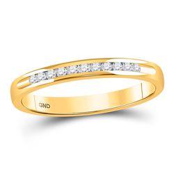 1/10 CTW Machine Set Round Diamond Wedding Channel Ring 14kt Yellow Gold - REF-19A2N