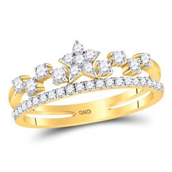 3/8 CTW Round Diamond Star Ring 14kt Yellow Gold - REF-35M9A
