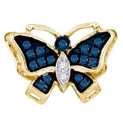 1/20 CTW Round Blue Color Enhanced Diamond Butterfly Bug Pendant 10kt Yellow Gold - REF-5R9H