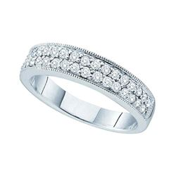 1/2 CTW Round Diamond Double Row Milgrain Ring 14kt White Gold - REF-54M3A