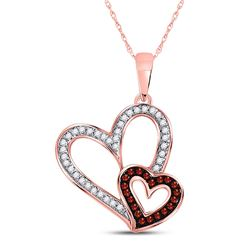 1/6 CTW Round Red Color Enhanced Diamond Double Heart Pendant 10kt Rose Gold - REF-14K4R