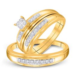 1/5 CTW His & Hers Round Diamond Cluster Matching Bridal Wedding Ring 10kt Yellow Gold - REF-24N3Y
