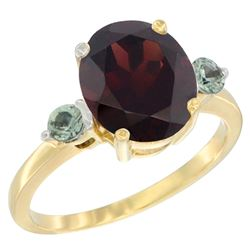 2.64 CTW Garnet & Green Sapphire Ring 14K Yellow Gold - REF-34M8A