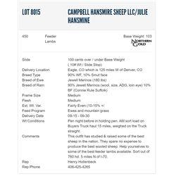 Campbell Hansmire Sheep LLC/Julie Hansmine - 450 Feeders Lambs