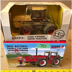 2 X INTERNATIONAL 3788 &  CASE 4894 DIE-CAST TRACTORS - AS NEW