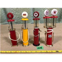 4 X MINI CLEAR VISION VINTAGE GAS PUMPS