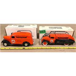 2 X SUPERTEST 1938 PANEL TRUCK & 1939 AIRFLOW - BANK
