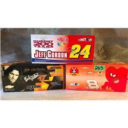 3 X DALE EARNHARDT JR / JEFF GORDON / WARD BURTON MODEL STOCK CARS