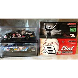 2 X STOCK CARS IN DISPLAY CASES & 2 X DALE EARNHARDT MODEL STOCK CARS