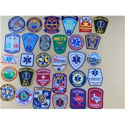 LOT OF 30 DIFFERENT EMS, EMT, EMERGENCY SERVICE PATCHES RETAIL $10-20 EACH