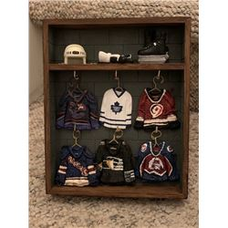 6 NHL MINI JERSEY HANGERS W/ DISPLAY