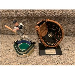 MICKEY MANTLE YANKEE STADIUM FIGURE AND MARK MCGUIRE GOLD GLOVE