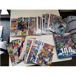 35 VARIOUS COMIC TITLES AND HARD COVER JUSTICE LEAGUE 100 GREATEST MOMENTS BOOK