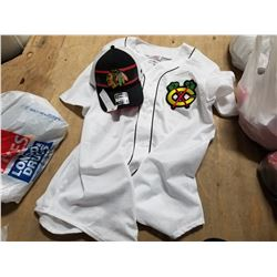 NEW CHICAGO BLACKHAWKS FANATICS HAT AND HAWKS BASEBALL STYLE JERSEY